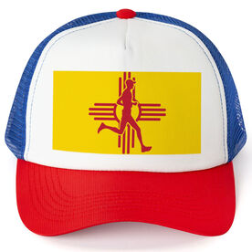 Running Trucker Hat - New Mexico Flag Male Runner