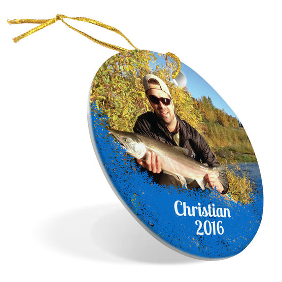 Fly Fishing Porcelain Ornament Your Photo Here