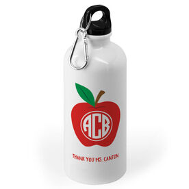 Personalized Teacher 20 oz. Stainless Steel Water Bottle - Monogram Apple