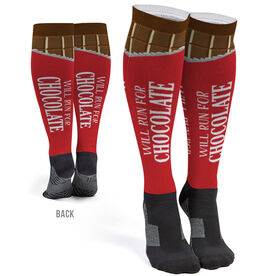 Running Printed Knee-High Socks - Will Run For Chocolate