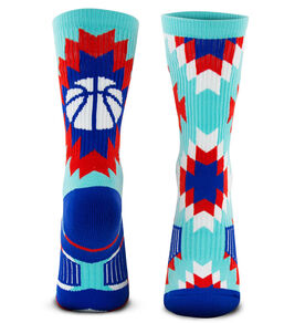 Basketball Woven Mid-Calf Socks - Aztec (Blue/Green)