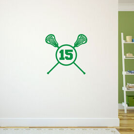 Lacrosse Crossed Sticks Female Removable LuLaGraphix Wall Decal