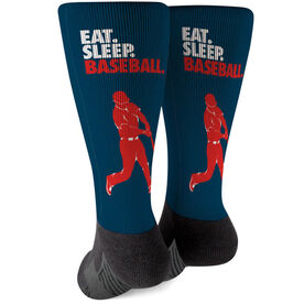 Baseball Printed Mid-Calf Socks - Eat Sleep Baseball