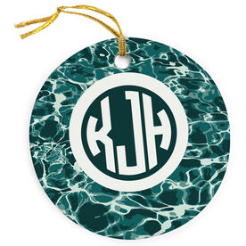 Swimming Porcelain Ornament Personalized Monogram