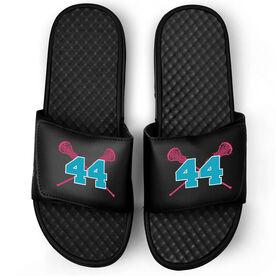 Girls Lacrosse Black Slide Sandals - Crossed Sticks with Number