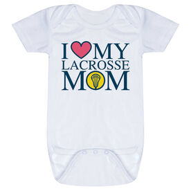 Girls Lacrosse Baby One-Piece - I Love My Lacrosse Mom