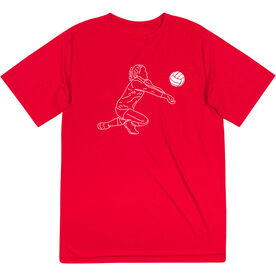Volleyball Short Sleeve Performance Tee - Volleyball Girl Player Sketch