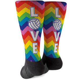 Volleyball Printed Mid-Calf Socks - Love With Rainbow Chevron