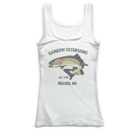 Fly Fishing Vintage Fitted Tank Top - Personalized Rainbow Trout
