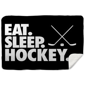 Hockey Sherpa Fleece Blanket - Eat. Sleep. Hockey. Horizontal