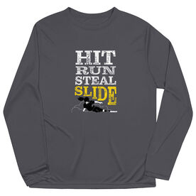 Softball Long Sleeve Performance Tee - Hit Run Steal Slide
