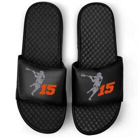 Guys Lacrosse Black Slide Sandals - Lax Jumpshot with Number