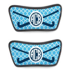 Field Hockey Repwell™ Sandal Straps - Personalized Monogram Stick with Quatrefoil Pattern