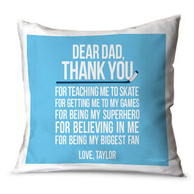 Hockey Throw Pillow Dear Dad Hockey