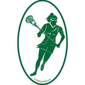 Lacrosse Girl Oval Car Magnet (Green)