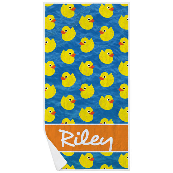 Swimming Premium Beach Towel - Personalized Rubber Ducky