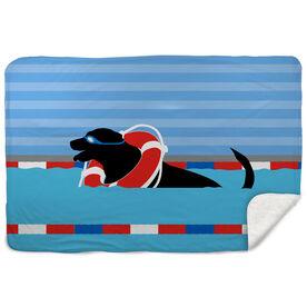 Swimming Sherpa Fleece Blanket - Finn the Swim Dog