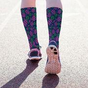 Printed Mid-Calf Socks - Pineapple Crazy