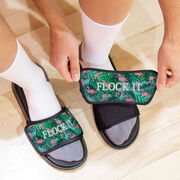 Personalized Repwell® Slide Sandals - Flamingos with Palms