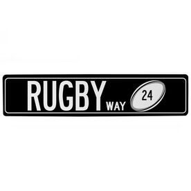"Rugby Aluminum Room Sign - Rugby Way With Number (4""x18"")"