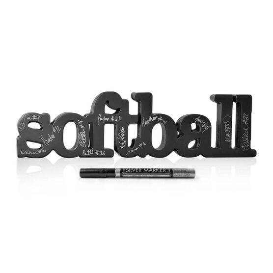 Softball Wood Words Ready for Team to Autograph