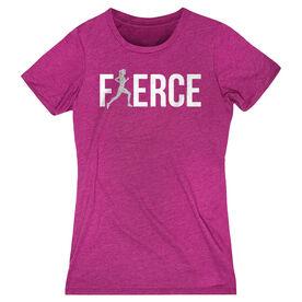 Women's Everyday Runners Tee Fierce Runner Girl with Silver Glitter