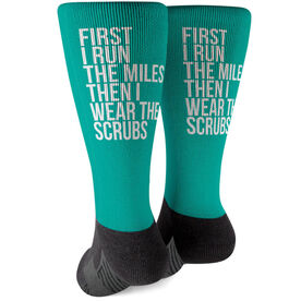 Running Printed Mid-Calf Socks - Then I Wear The Scrubs