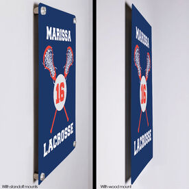 """Girls Lacrosse 18"""" X 12"""" Aluminum Room Sign - Personalized Lacrosse Ball And Sticks"""