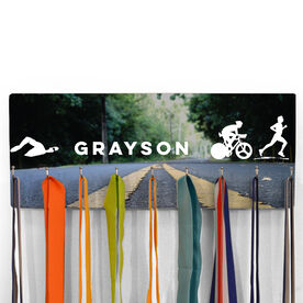 Hooked On Medals Hanger Personalized Male Triathletes Scenic Road