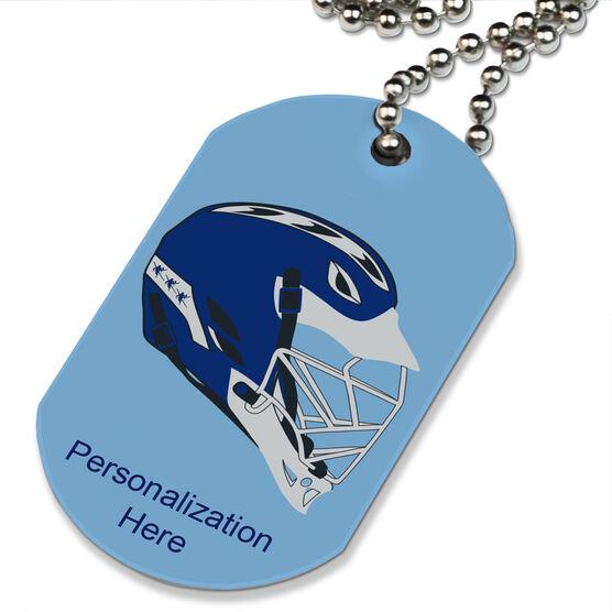 Lacrosse Printed Dog Tag Necklace Lacrosse Helmet