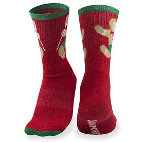 Girls Lacrosse Woven Mid-Calf Socks - Gingerbread Man (Red)