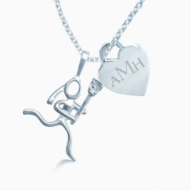 Sterling Silver Lacrosse Girl (Stick Figure) With Engraved 13mm Heart Charm Monogram Necklace