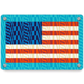 Swimming Metal Wall Art Panel - American Flag Mosaic