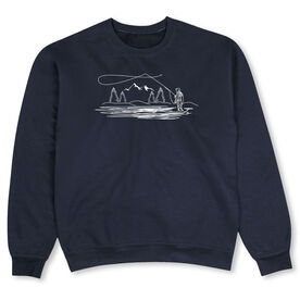 Fly Fishing Crew Neck Sweatshirt - Fly Fishing Player Sketch