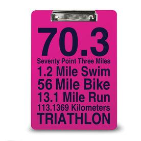 Triathlon Custom Clipboard 70.3 Math Miles