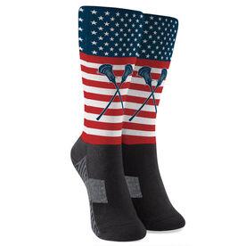 Guys Lacrosse Printed Mid-Calf Socks - USA Stars and Stripes