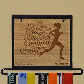 Engraved Bamboo BibFOLIO Plus Race Bib and Medal Display Believe Running Girl