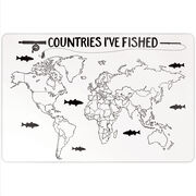 """Fly Fishing 18"""" X 12"""" Aluminum Room Sign - Countries I've Fished Outline"""