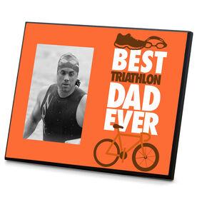 Triathlon Wood Frame Best Dad Ever