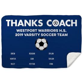 Soccer Sherpa Fleece Blanket - Thanks Coach (Horizontal)