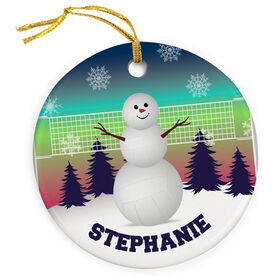 Volleyball Porcelain Ornament Snowman