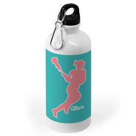 Girls Lacrosse 20 oz. Stainless Steel Water Bottle - Lacrosse Girl Chevron Silhouette