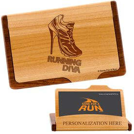 Running Diva Shoe Maple Business Card/Credit Card Holder