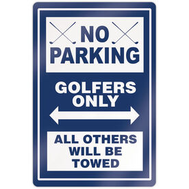"""Golf 18"""" X 12"""" Aluminum Room Sign - No Parking Sign With Crossed Clubs"""