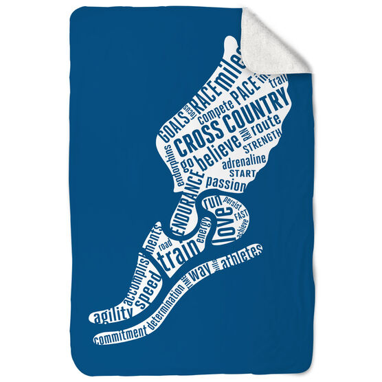 Cross Country Sherpa Fleece Blanket - Inspirational Words Winged Foot