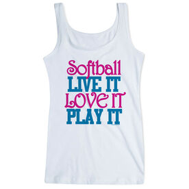 Softball Women's Athletic Tank Top Live It Love It Play It