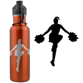 Cheerleader Silhouette 24 oz Stainless Steel Water Bottle