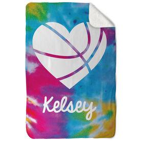Basketball Sherpa Fleece Blanket - Personalized Tie Dye Pattern With Heart