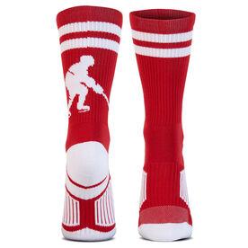 Hockey Woven Mid-Calf Socks - Player (Red/White)