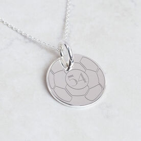 Sterling Silver 20mm Circle Necklace Soccer Number